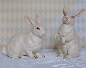 Vintage Pair Lefton China Albino Rabbits for Easter