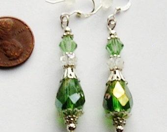 Green Crystal Earrings Sterling Silver Earwires Light Green AB Teardrop Earrings