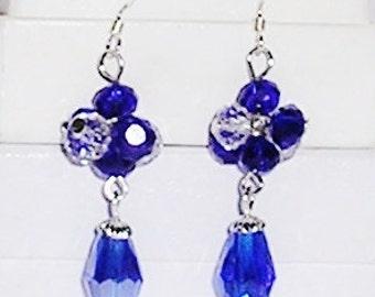 Blue Crystal Earrings Sterling Silver Earwires Tear Drop Crystals Victorian Crown Jewels Swarovski Crystals Bridal Crystal Earrings