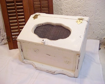 Vintage Upcycled Distressed Creamy White Bread Box Farmhouse Chic