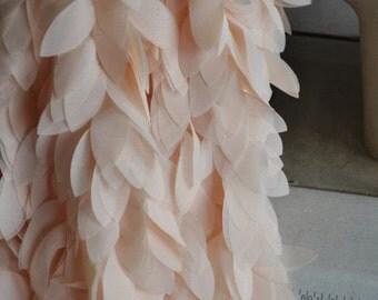 Blush Lace Trim Chiffon Lace Trims with Ribbon Back for Bridal Hearware Wedding Sash Supplies