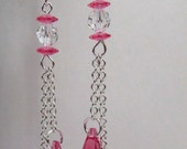Rose Pink Teardrop Earrings, Chain