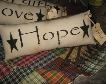 """Primitive Hand Painted Stenciled  Pillow """" HOPE """" Fall Decoration ThanksGiving Everyday Housewares"""