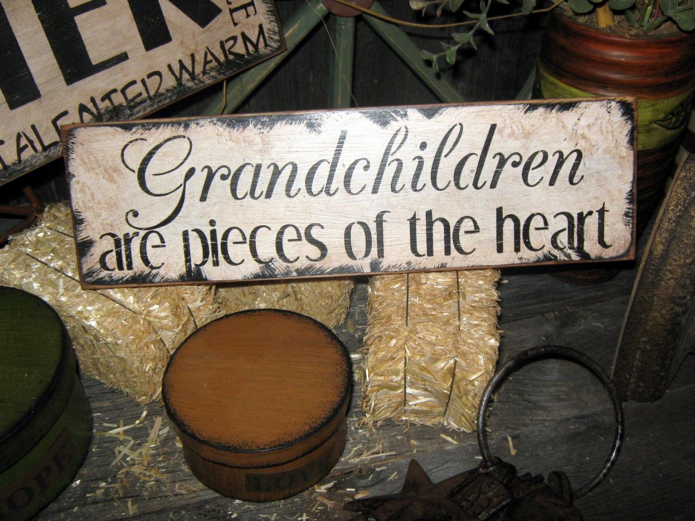 Primitive Wood Sign Grandchildren Handpainted