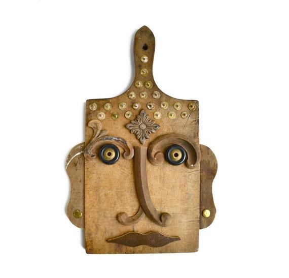 vintage cutting board kitchen Buddha 5 zen art modern sculpture mask  by Elizabeth Rosen