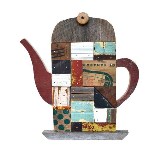 turkish tea pot architectural salvage patchwork vintage wood mosaic large original art by Elizabeth Rosen