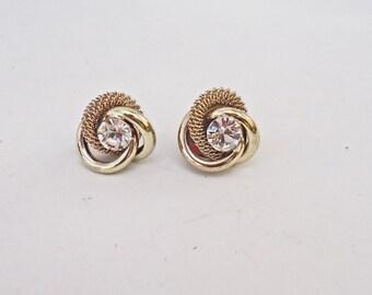 Vintage Post Earrings, Goldtone with Clear Rhainestone Stud Earrings, UK Seller
