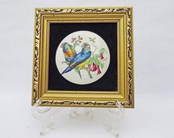 Vintage Framed Hand Made English Staffordshire Ceramic Miniature Of Birds, UK Seller