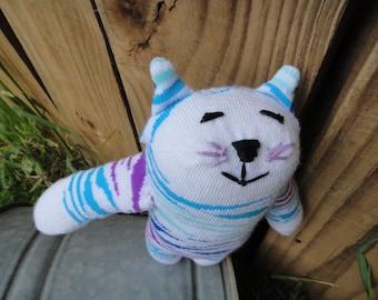 Handmade Stuffed Sock Animal Cat Tiger Blue ChildSafe Toy Toddler Baby