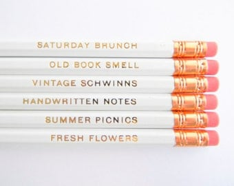 Favorite Things Pencils - White & Gold, Set of 6, Stocking Stuffers