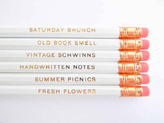 Favorite Things Pencils - White & Gold, Set of 6