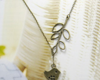Lovely bird and leaf branch necklace