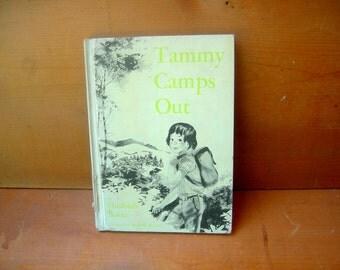 Vintage children's book camping girls