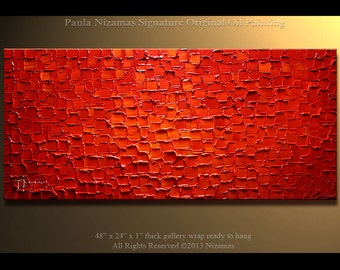 Painting on canvas abstract red Ready to Hang Fine Original  Red Texture Impasto extra Thick paint wall decor