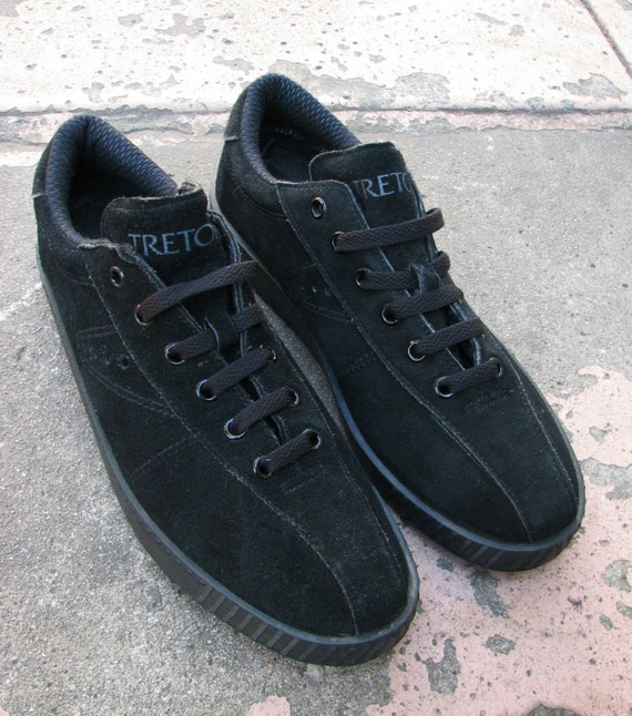 vintage 80s tretorn tx100 tennis shoes black suede by