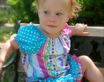 Parley Ray Summer Flurry All Around Ruffle Skirt and Peasant Style Blouse Girl Ruffled Bloomers/ Diaper Cover