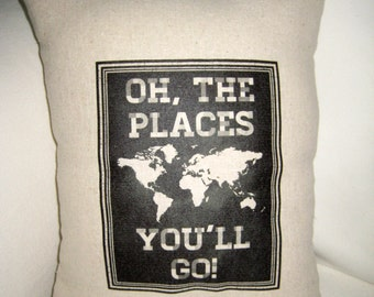 Oh The Places You'll Go, Dr. Seuss Inspired Pillow, Baby Room Nursery Chalk Board Cushion, Shower Gift, Shabby Chic, Home Decor