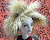 Reserved Listing For Mildred - Custom Monster High Faux Fur Wig - Natural / Tan With Feather - Fits Boy And Girl Dolls