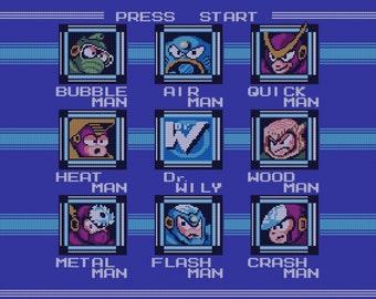Mega Man II stage select cross stitch pattern