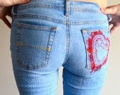 Handpainted jeans. Red heart stencil. Size 2.