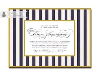 Navy White & Gold Bridal Shower Invitation Striped Formal Elegant Script Wedding FREE PRIORITY SHIPPING or DiY Printable - Loreen