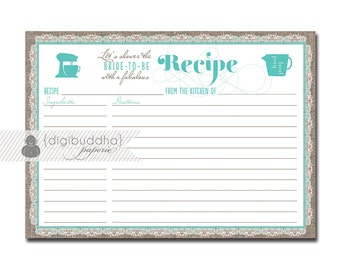 Bridal Shower Recipe Cards Templates Images & Pictures - Becuo
