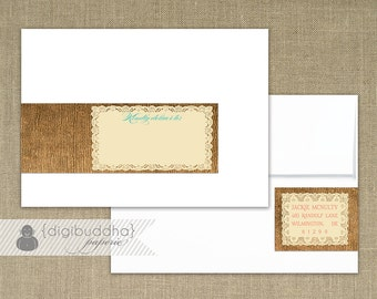 Lace Burlap Envelope Wrap Labels Printable Address Wraps PDF Rustic Wraparound DIY Address Labels Customized - Jackie Style