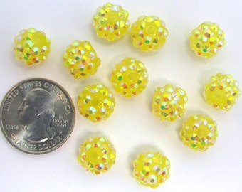 12 SMALL Yellow Rhinestone Beads Sparkling Bling Resin Balls NEW SIZE 12mm
