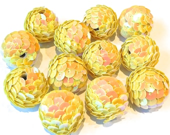 SEQUIN Beads 12 YELLOW Beads 24mm Big Chunky Sparkling Beads