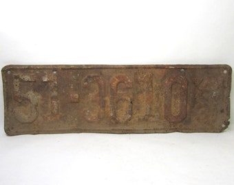 Vintage  Kansas Metal License Plate Rusted and Naturally Distressed 1931