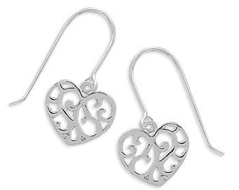 Sterling Silver Cut Out Heart French Wire Earrings