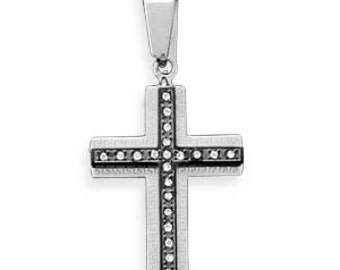 MENS or Teen Boys 316L Stainless Steel Cross Pendant with Crystal