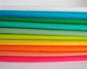 Wool Felt Sheets - 10 pieces - neon colours - 'Colour Pop' colour range