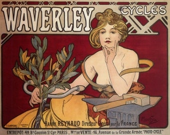 Mucha Art Nouveau Home Decor Waverly Cycles Ad Print