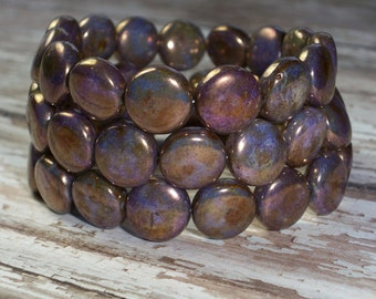 Purple Czech Glass 10mm Lentil Bead Picasso NEBULA (10)