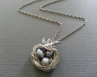 Silver  Fresh Water Potato Pearl Bird's Nest Necklace