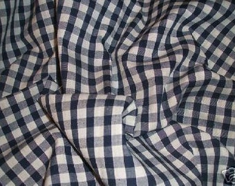 Quarter Inch Navy Gingham Poly Cotton Fabric x one yard