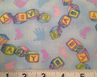 Baby Fabric, 100% Cotton, Blue Hoffman Fabric x three yards
