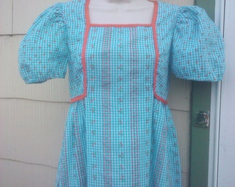 Vintage 1970s Blue Gingham Mini Dress Dolly Babydoll Kawaii Small Costume Quality