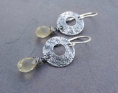 Twinkle - Wire Wrapped Citrine Briolettes and Sterling Silver Stamped Disc Earrings