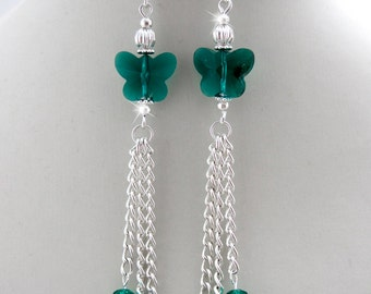 Crystal Butterfly Earrings, tassel earrings, Emerald cluster earrings, green dangles, emerald crystal jewelry, birthstone earrings, long