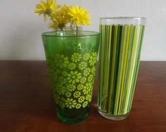 Spring Theme/Pretty in Yellow and Green/Mismatched but complementing green and yellow vintage glasses