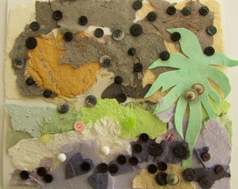 Mixed Media - Handmade Paper - Buttons - Collage