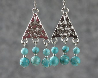 Turquoise triangle chandelier dangling earrings Bridesmaids gifts Free US Shipping handmade Anni designs