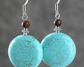 Turquoise dangel circle drop earrings Bridesmaid gifts Free US Shipping handmade Anni designs