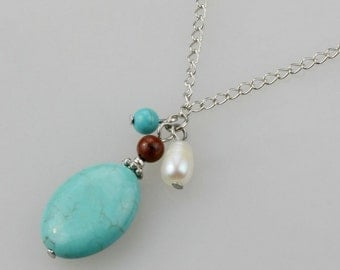 turquoise pearl stone charm pendant necklace Bridesmaid gifts Free US Shipping handmade Anni designs