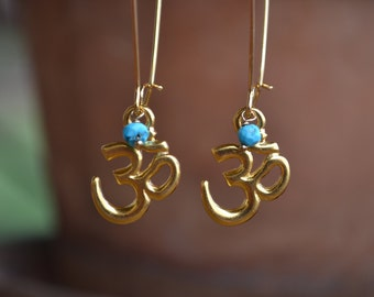 Gold Om/Ohm/Aum Earrings with Gemstone Accents