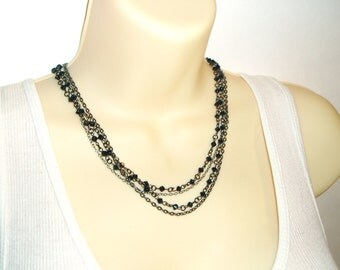 Multiple Chain Black Beaded Necklace - Choker Length Black Bicone Beaded Multi-Chain Necklace