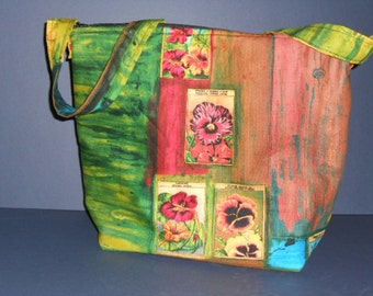 Handmade Flower seeds art purse,   over the shoulder purse