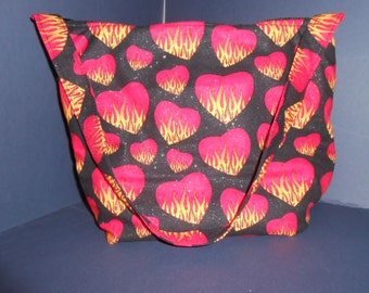 Red Hearts and Flames Print, over the shoulder purse, Valentine's Day